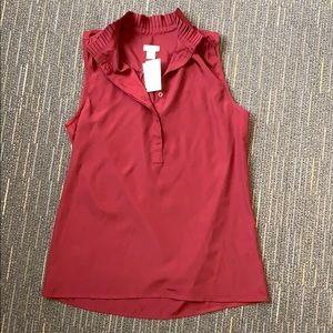 J.Crew sleeveless dress shirt, deep wine/burgundy